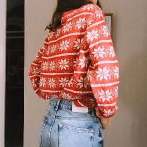 Croft & Barrow Red Patterned Sweater PXL